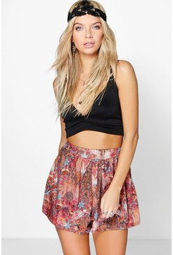 Josie Border Print Flippy Shorts
