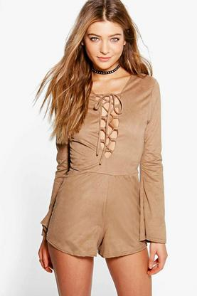 Kate Lace Up Front Wide Sleeve Suedette Playsuit