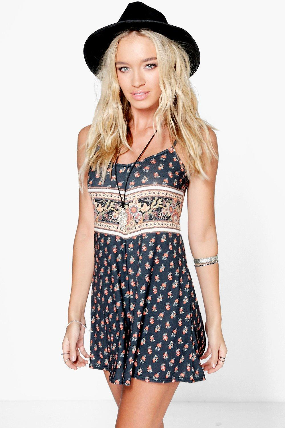 Ruby Border Print Strappy Swing Playsuit