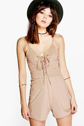 Julia Eyelet Detail Suedette Playsuit