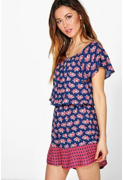 Lily Ditsy Print Border Hem Playsuit