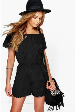 Lola Off The Shoulder Woven Playsuit