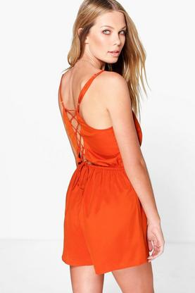 Inga Lace Up Back Strappy Playsuit