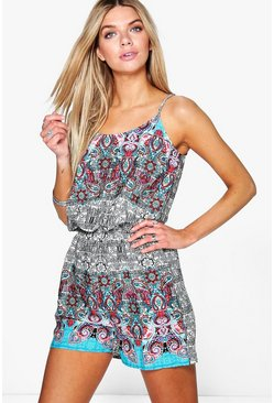 Vera Placement Print Cami Playsuit
