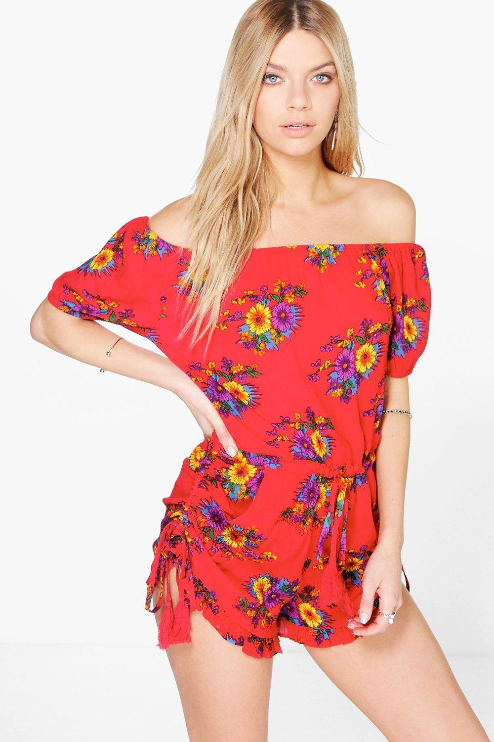Kyra Floral Print Off The Shoulder Woven Playsuit