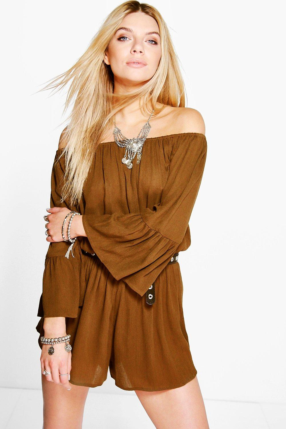 Amber Off The Shoulder Flute Sleeve Playsuit
