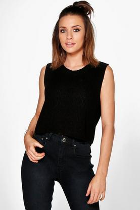 Katie Sleeveless Crop Knit