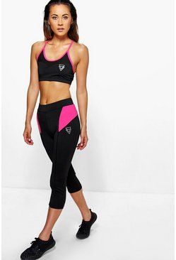 Katie Performance Contrast Panel Capri Leggings