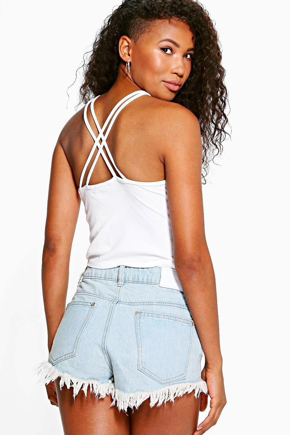 Megan Ribbed Double Cross Strap Crop