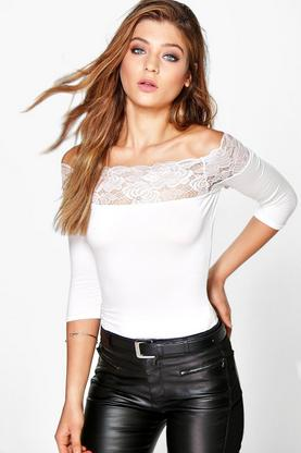 Julia Lace Trim 3/4 Sleeve Off The Shoulder Crop