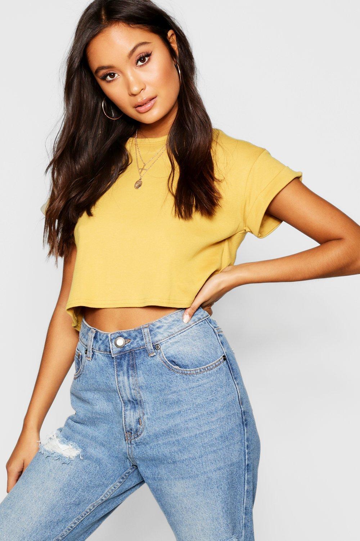 boohoo Womens Basic Roll Sleeve Crop T-Shirt - Yellow - M, Yellow