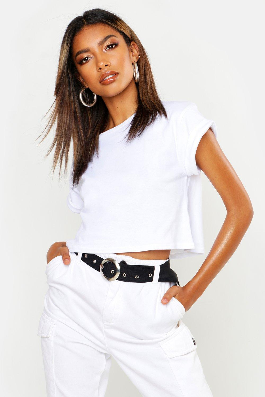 boohoo Womens Basic Roll Sleeve Crop T-Shirt - White - L, White