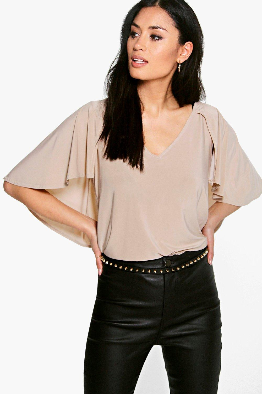 Keira Cape Sleeve V Neck Top