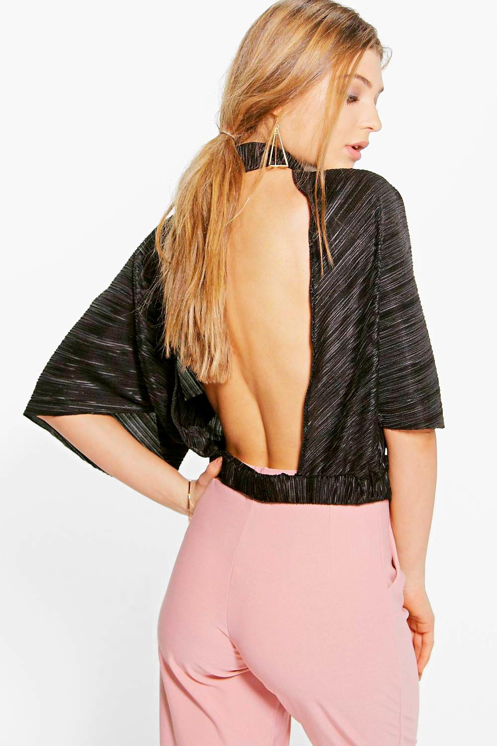 Lucy Open Back Crinkle High Neck Top