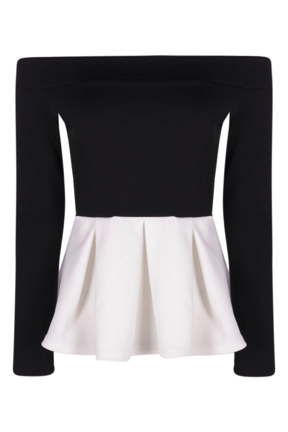 Lola Off The Shoulder Mono Box Pleat Peplum