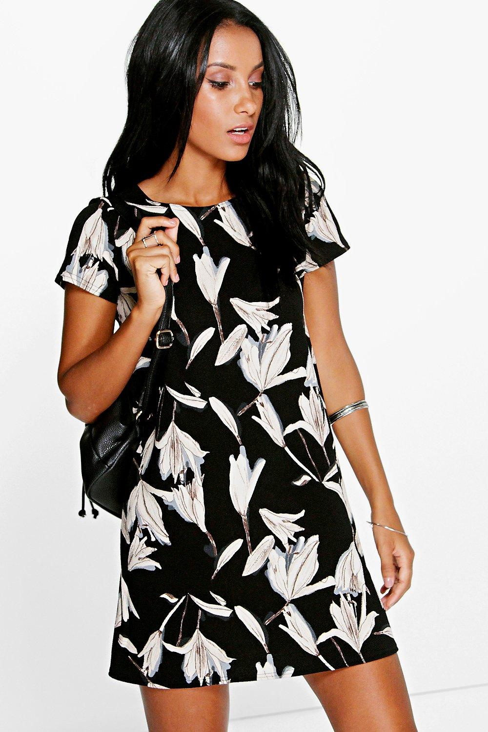 Floral Cap Sleeve Shift Dress black