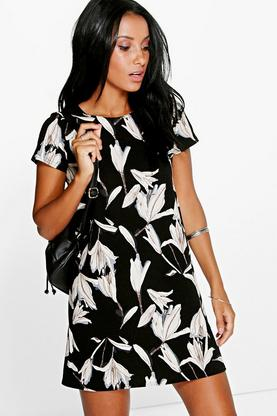 Lisa Floral Cap Sleeve Shift Dress