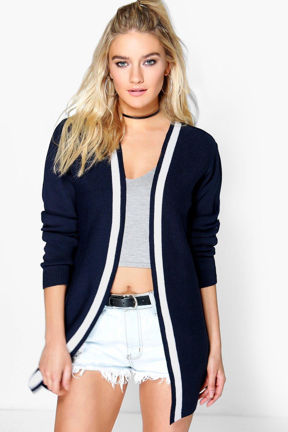 Tia Varsity Edge To Edge Cardigan