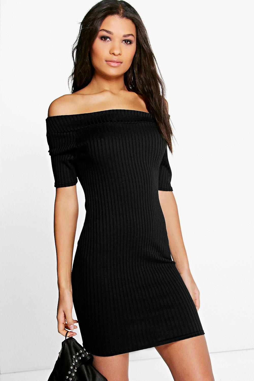 Harriet Rib Knit Bardot Dress