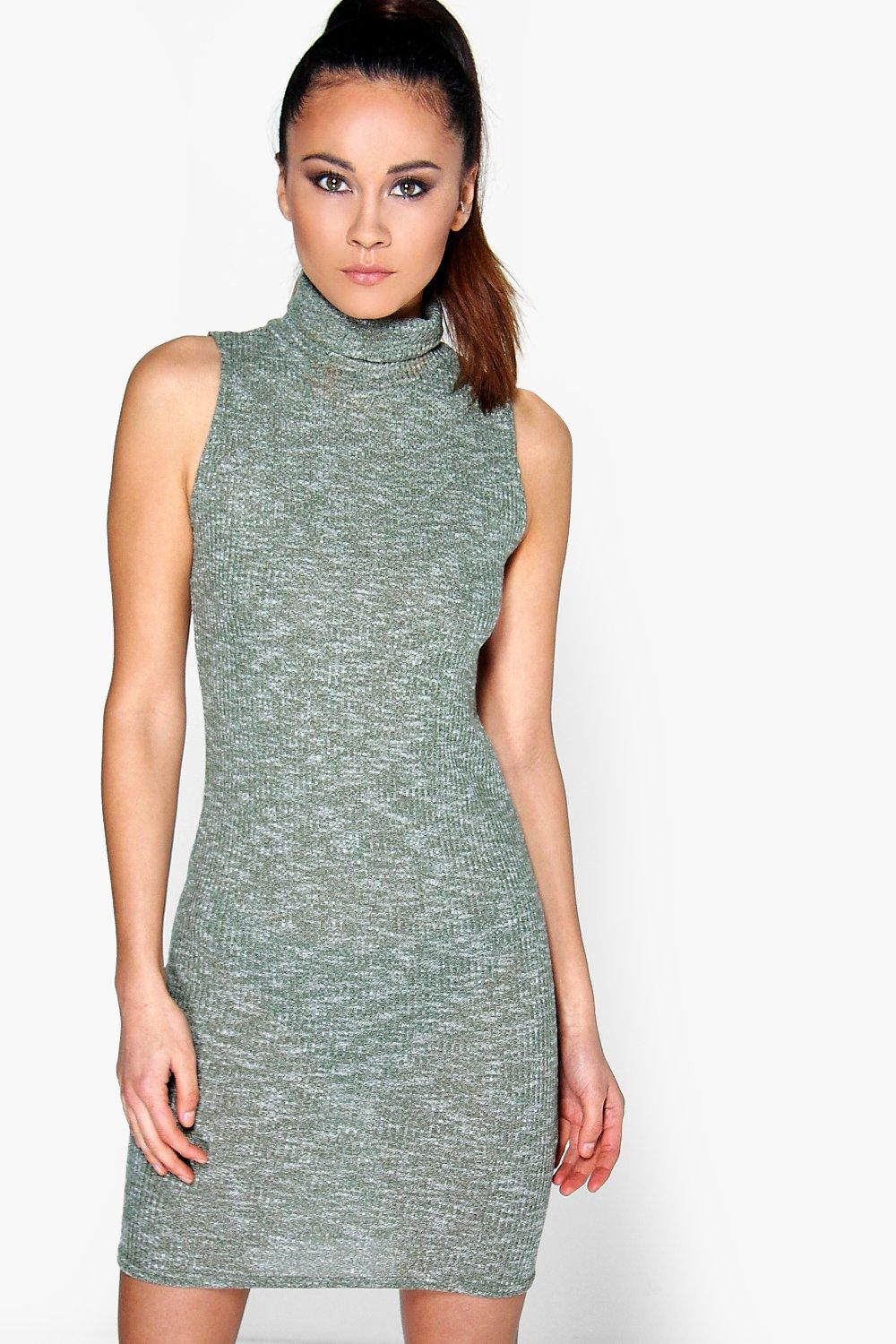 Sophie Turtle Neck Rib Knit Bodycon Dress