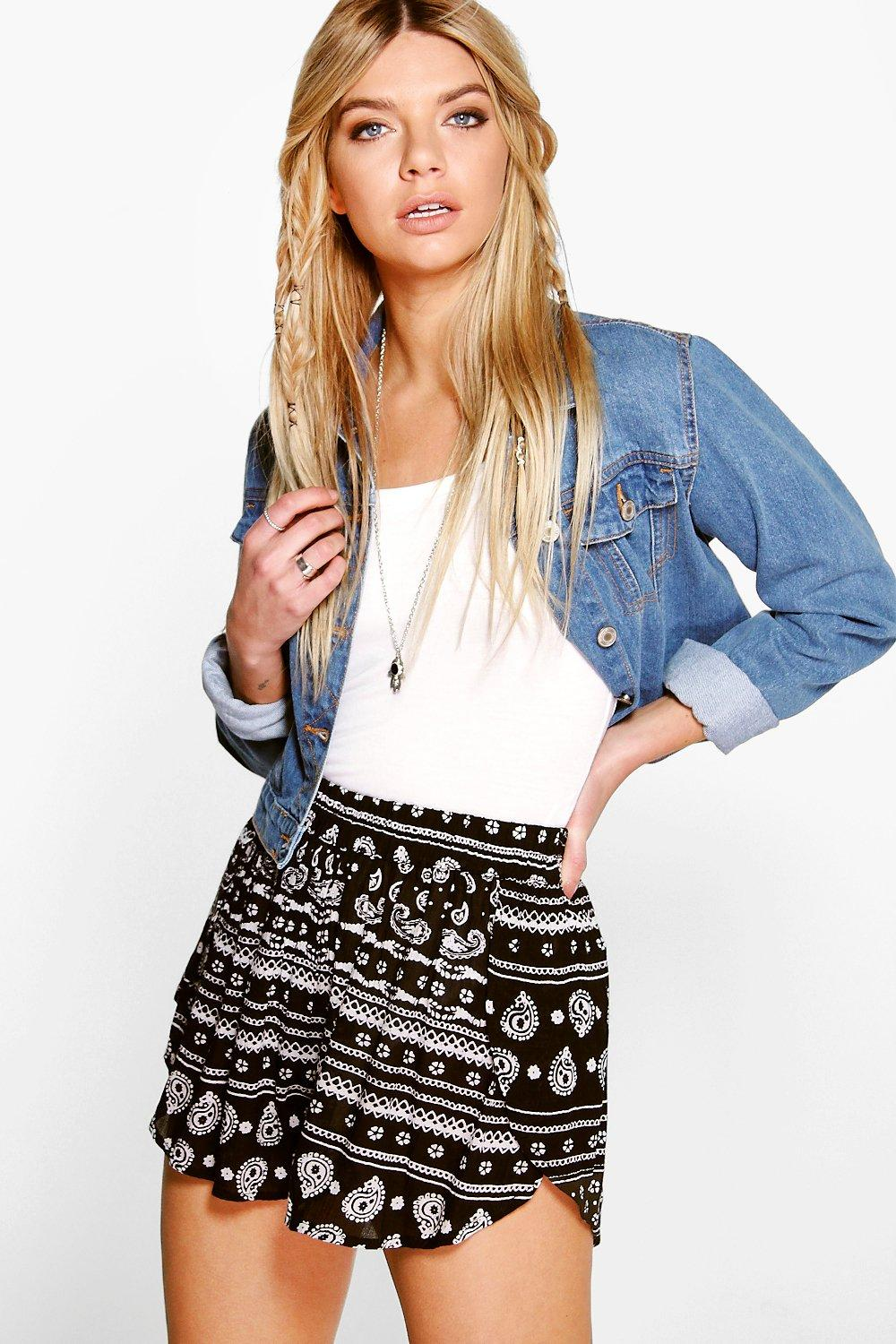 Lucy Wrap Front Printed Runner Shorts
