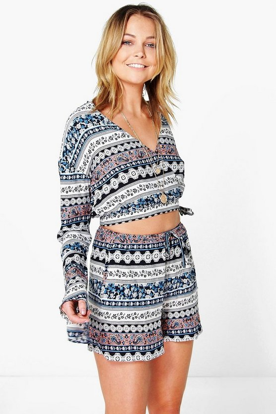 India Boho Print Wrap Top & Shorts Co-Ord Set