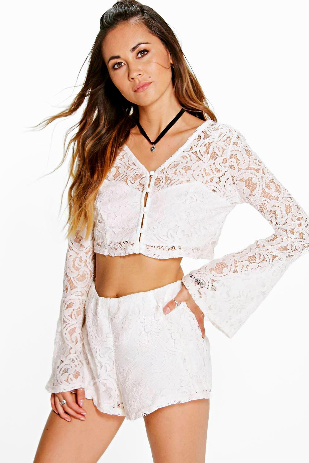 Seren Lace Crop & Shorts Co-Ord Set