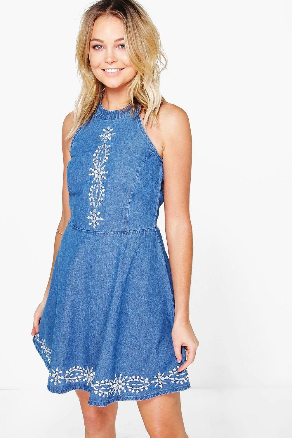Gia Embroidered Denim Skater Dress