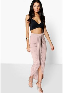 Lottie Drape Front Viscose Maxi Skirt