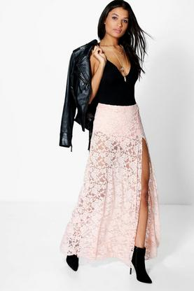 Adala Thigh Split Lace Maxi Skirt