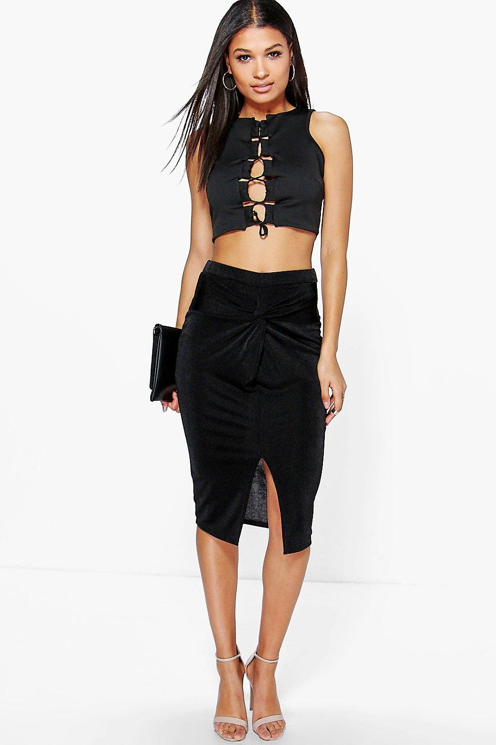 Darcey Knot Front Textured Slinky Midi Skirt