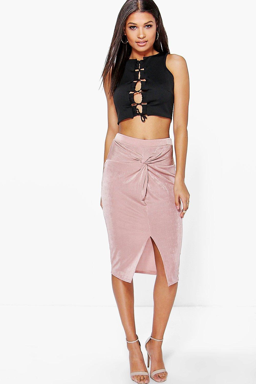 falda midi elegante con texturas y nudo por delante darcey | Boohoo