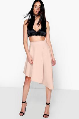 Mia Asymetric Full Scuba Midi Skirt