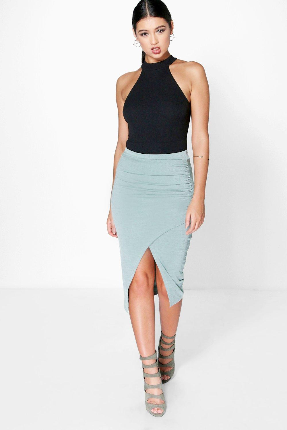 Ava Rouched Side Textured Slinky Midi Skirt