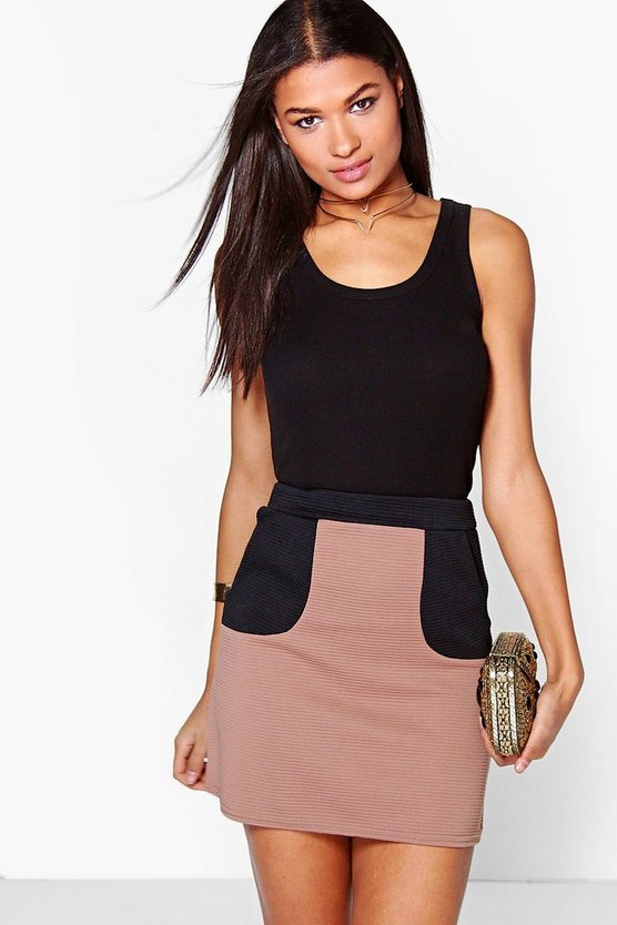Mia Deep Rib Contrast Pocket Mini Skirt