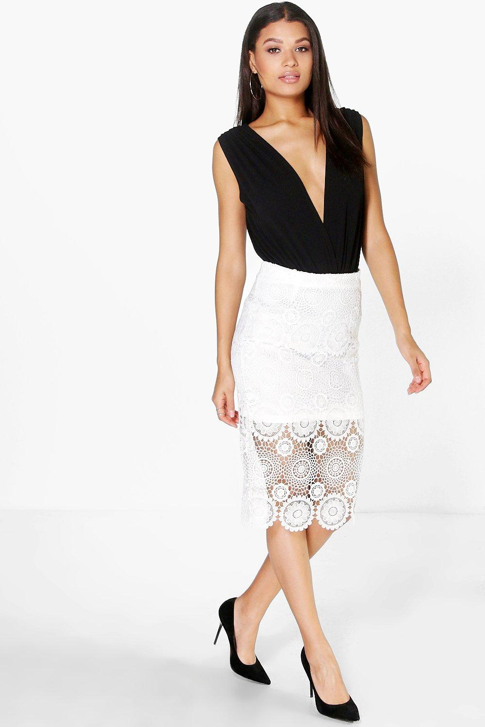 Rahima Crochet Lace Midi Skirt
