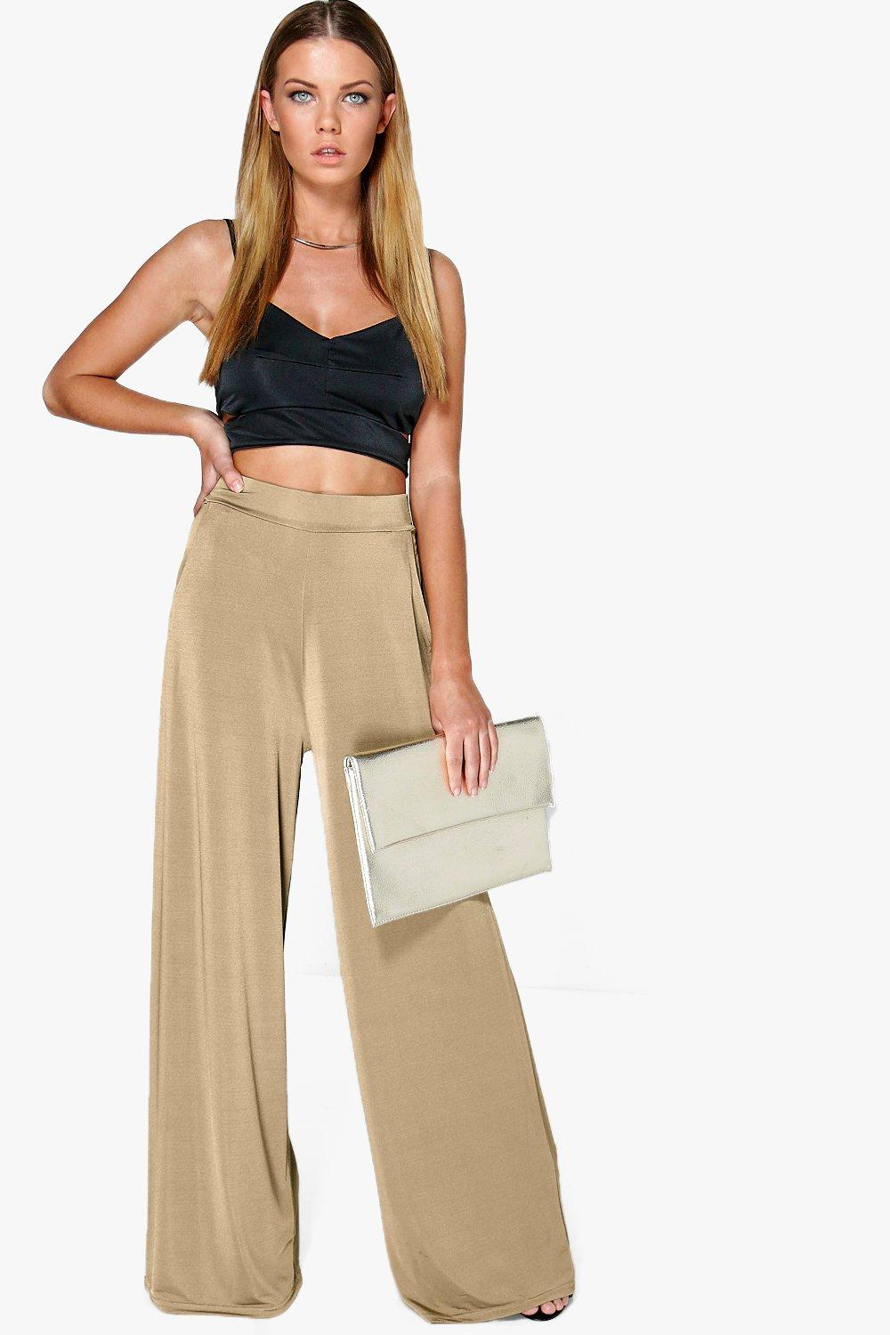 1930s Women's Pants and Beach Pajamas Matilda Pocket Side Wide Leg Trousers sand $17.00 AT vintagedancer.com