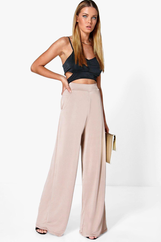1930s Women's Pants and Beach Pajamas Matilda Pocket Side Wide Leg Trousers sand $24.00 AT vintagedancer.com