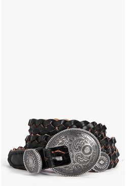 Millie Western Buckle Plaited Skinny Belt