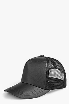 Ella Mesh And Leather Look Cap