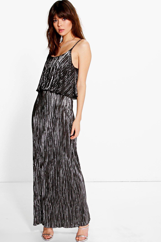 Tahnee Metallic Pleated Maxi Dress   Boohoo