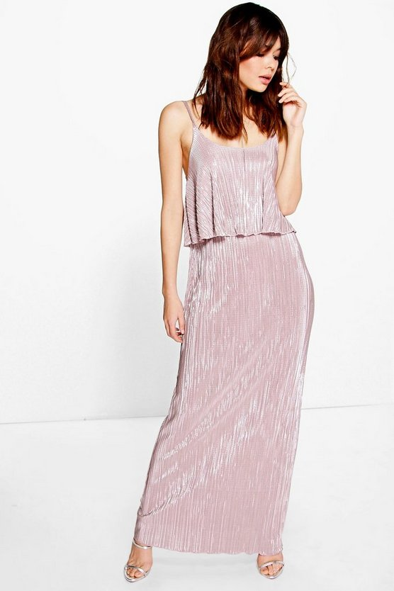 Tahnee Metallic Pleated Maxi Dress