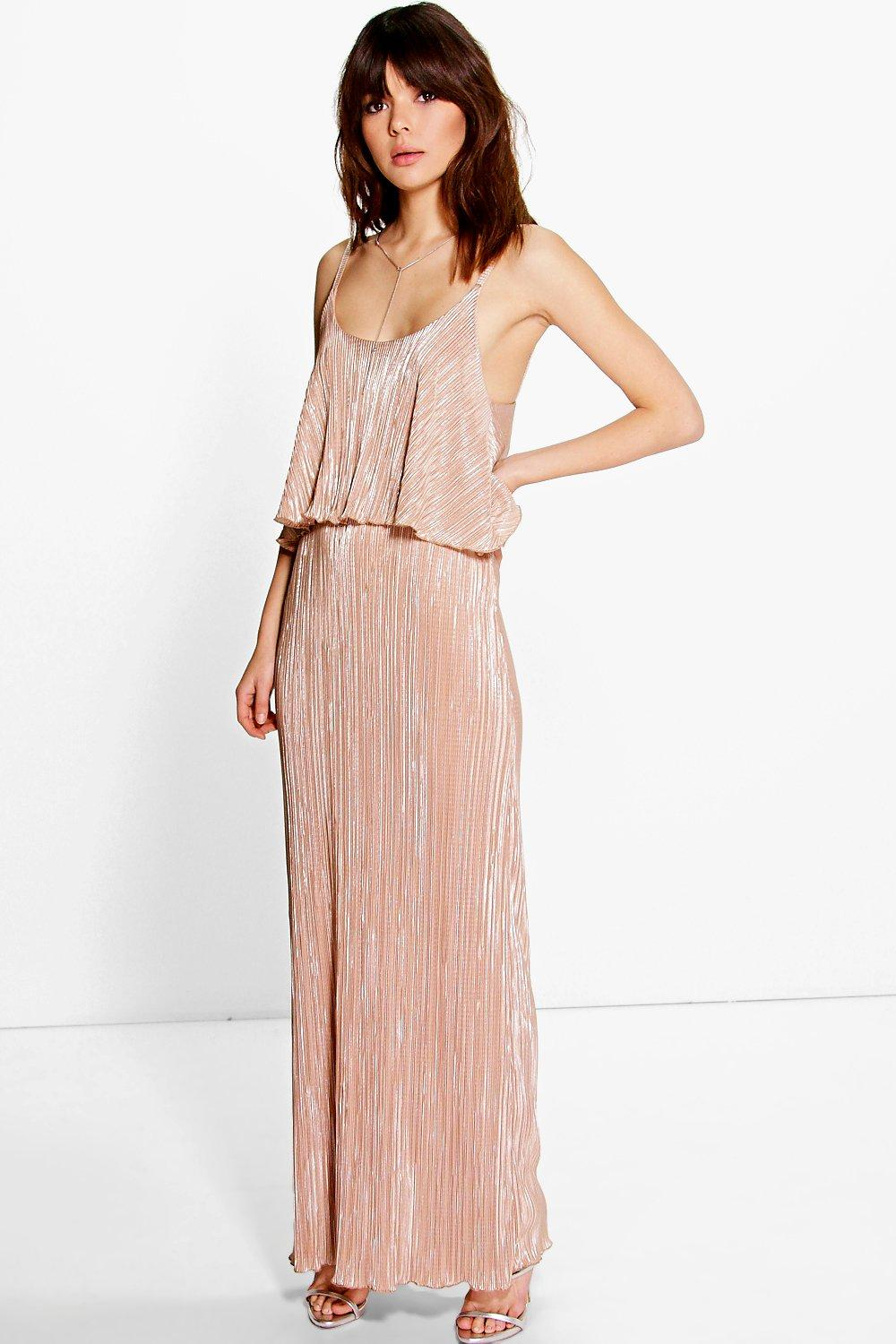 Tahnee Metallic Pleated Maxi Dress at boohoo.com