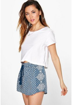 Sally Border Print Tassel Trim Runner Shorts