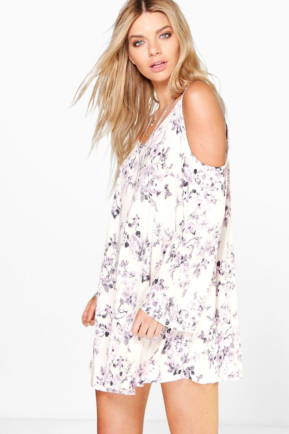 Lucy Cold Shoulder Floral Print Swing Dress