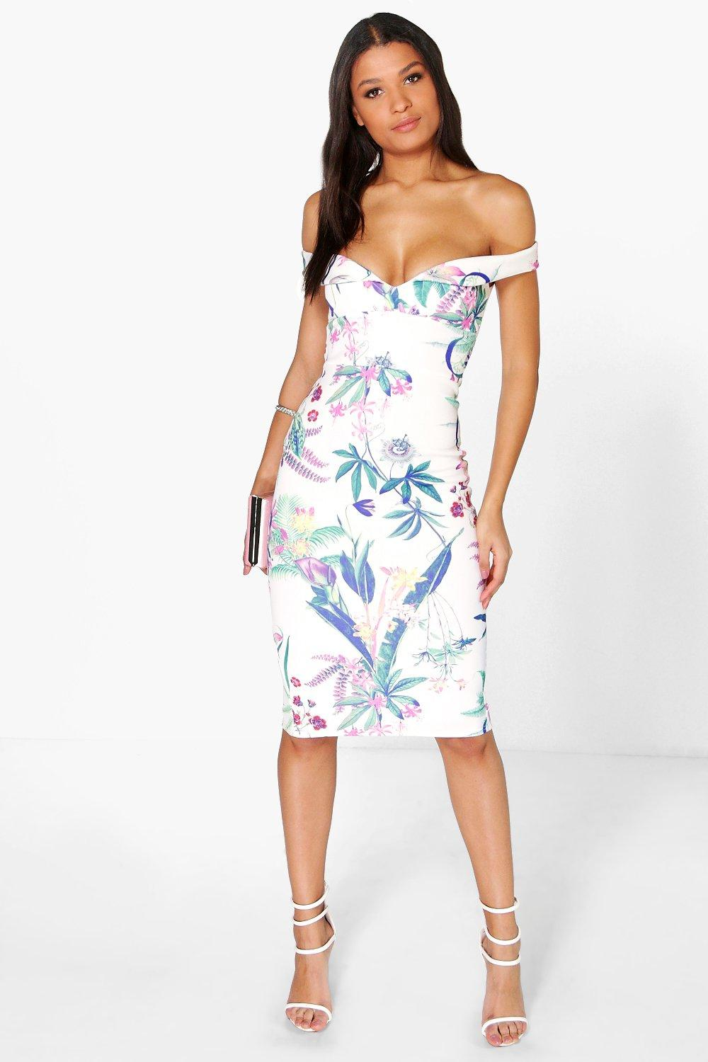 Cleo Floral Sweetheart Off The Shoulder Midi Dress