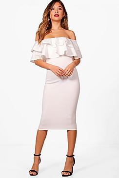Dixie Bardot Layered Frill Detail Midi Dress