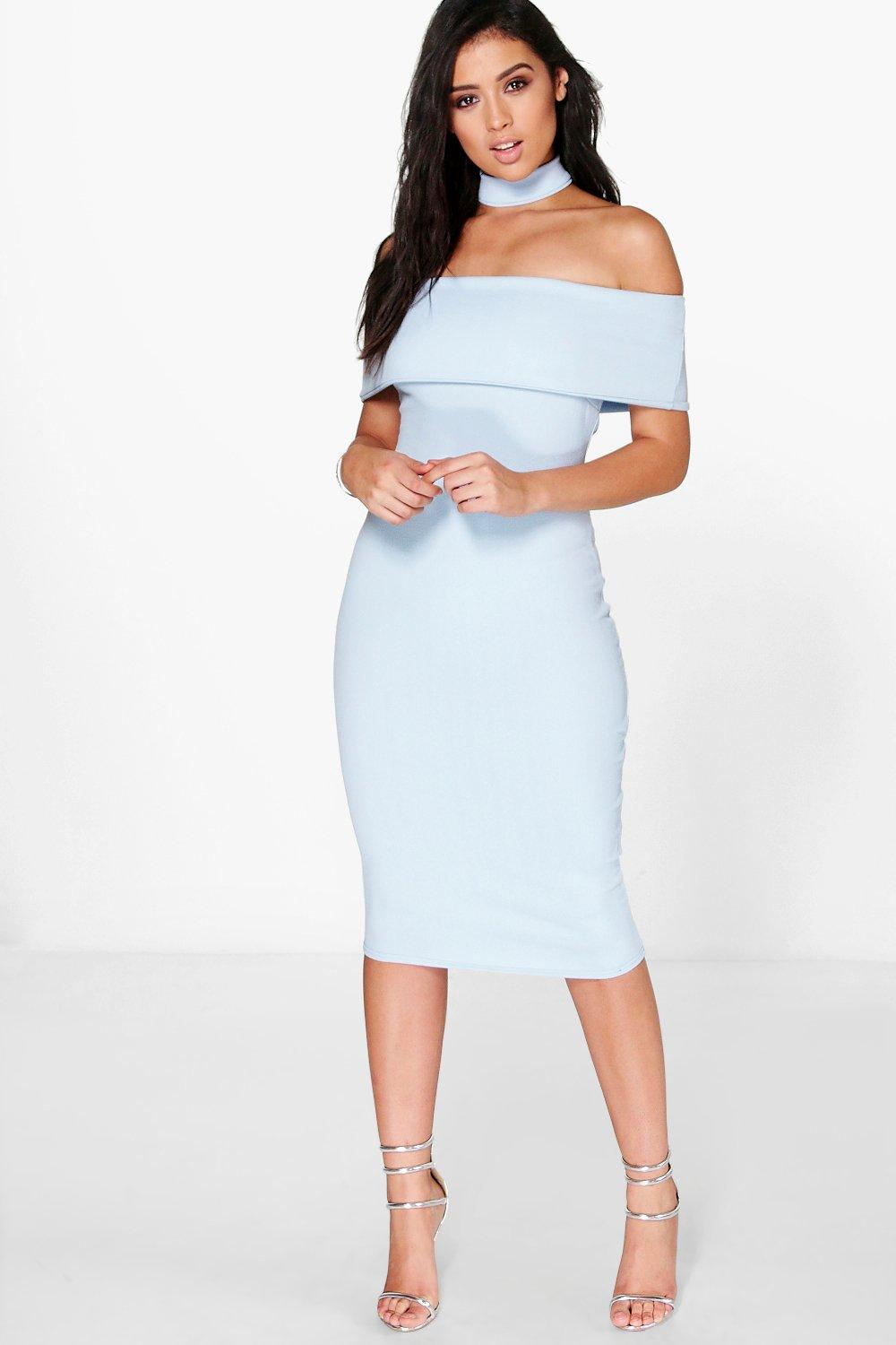 Mhairi Choker Off The Shoulder Midi Dress