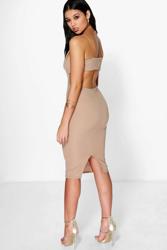 Ania Square Neck Wide Back Strap Midi Dress