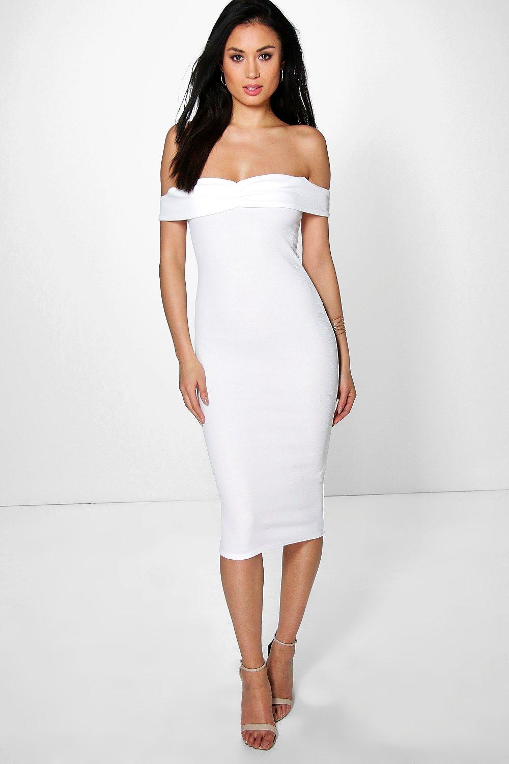 Angharad Crepe Off The Shoulder Midi Dress